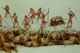 A bison hunting scene