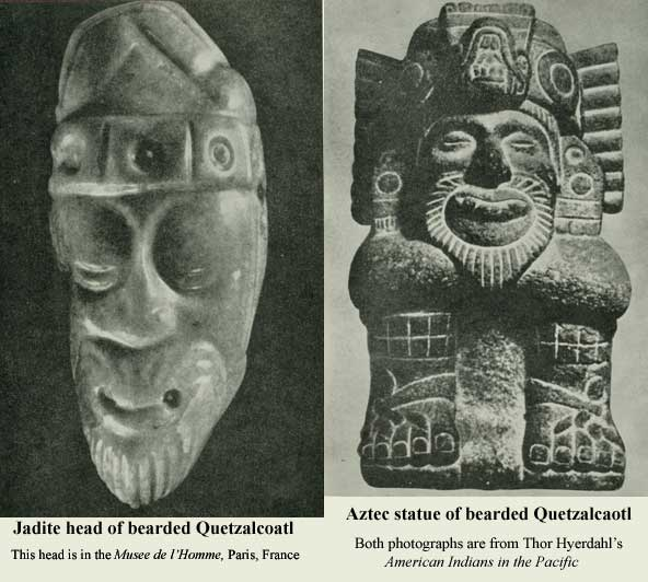 Bearded images of Quetzalcaotl, the 'Plumed Serpent' god