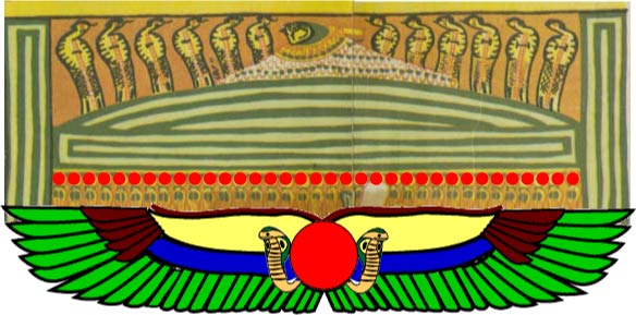 Different forms of Egyptian uraeus, hawk/serpent/sun symbolism.