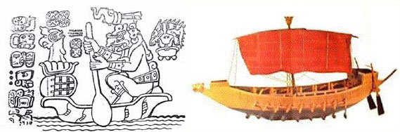 A paired image of Itzamna's arrival and the galleon of Rameses III