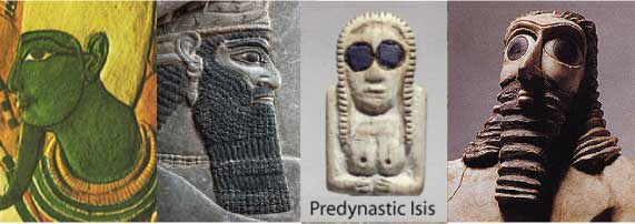 Assur, a Mesopotamian king, predynastic Isis, and a Sumerian king, all with accented eyes