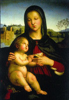 A thumbnail vignette of Mother Mary and baby Jesus