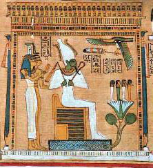 Classical Egyptian Judgment Scene with Assur as King of the afterlife and Judge of the Dead.