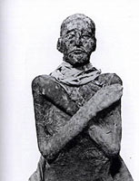 The mummified remains of Rameses III with arms crossed in hopes of resurrection like Assur