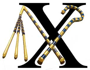 A letter X in large type with Assur's crook and flail.